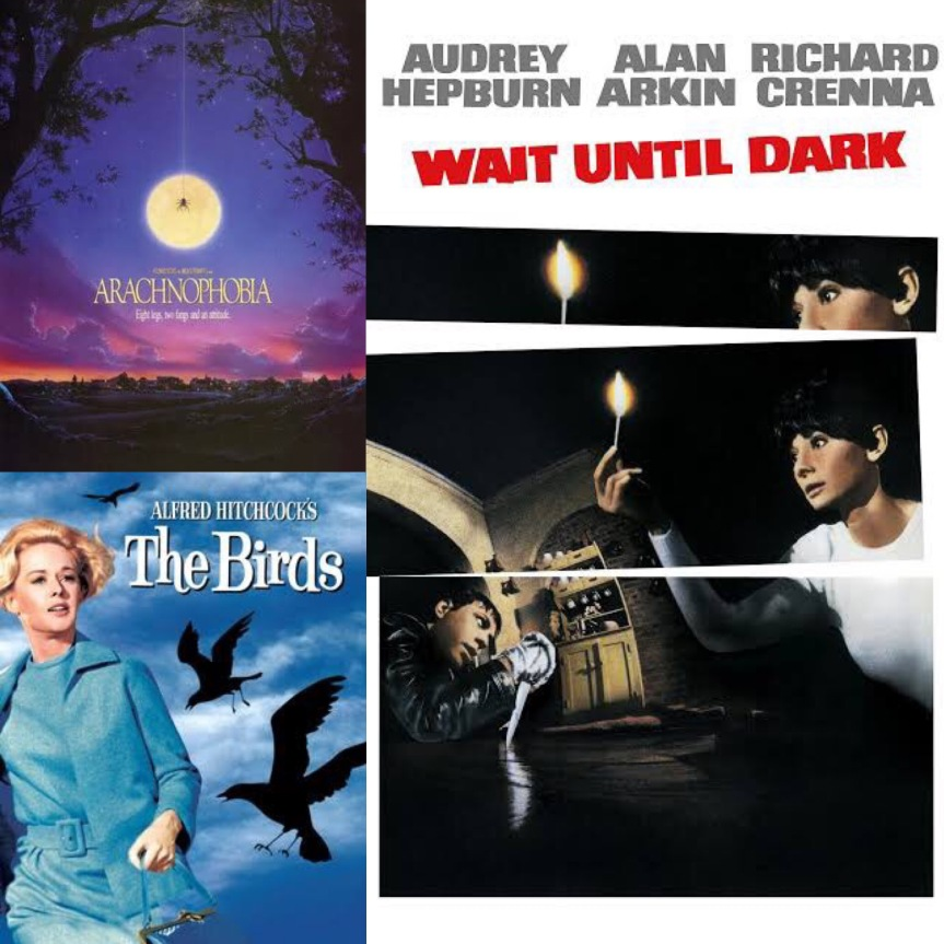 Scary Movie Titles: Arachnophobia, The Birds, and Wait Until Dark.