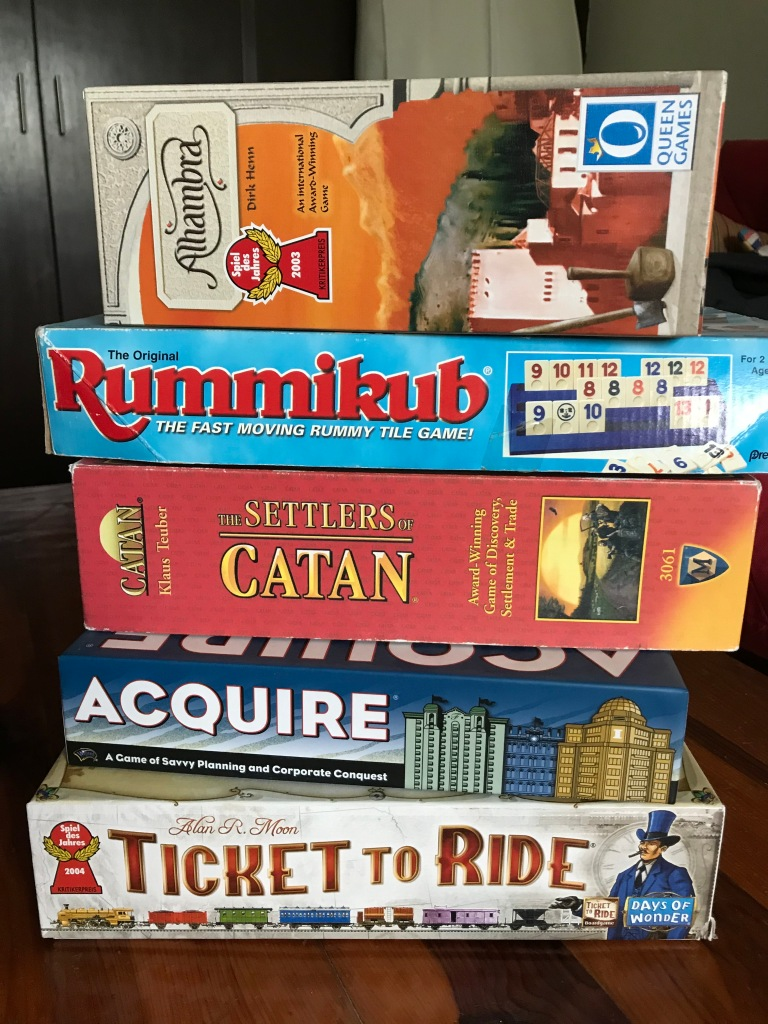 Family Board Games: Alhambra, Rummikub, Settlers of Catan, Acquire, Ticket to Ride